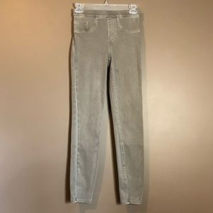 Spanx earthy taupe pull on skinny jeans.